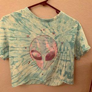 trippie blue tie dye alien crop top